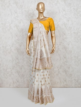 White dola silk wedding wear saree