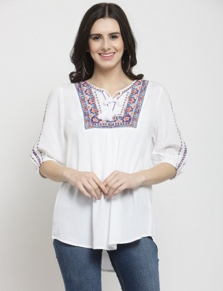 White drawstring casual top in cotton