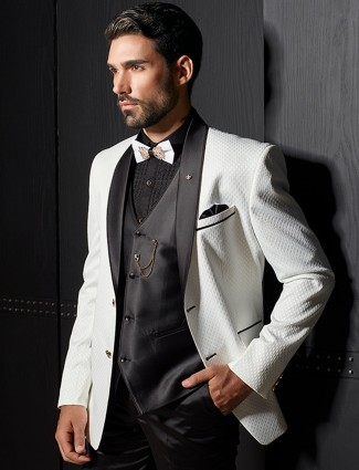 White dressy designer coat suit