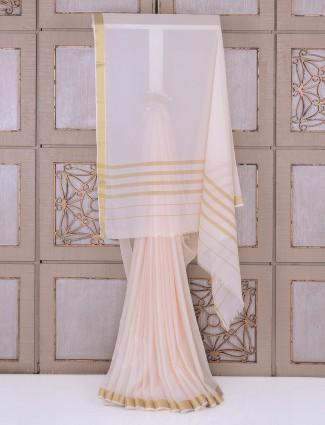 White georgette festive saree