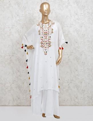 White georgette punjabi lehenga suit