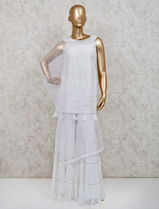 White georgette punjabi sharara suit for festive