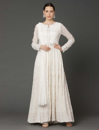 White georgette wedding floor length anarkali dress