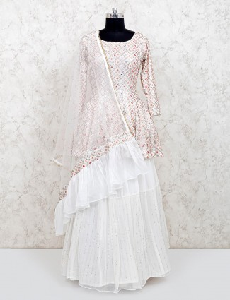 White georgette wedding wear punjabi lehenga suit