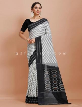White grey checks pure mul cotton printed saree