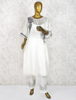White hue cotton festive wear punjabi salwar suit