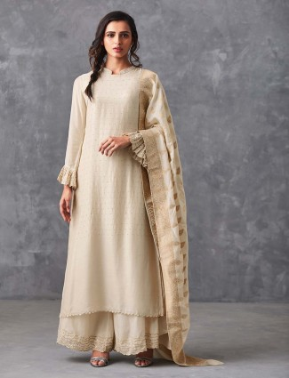 White hue cotton punjabi palazzo suit