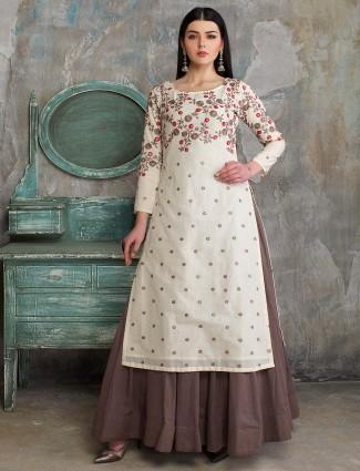 White hue cotton silk pakistani lehenga cum salwar suit