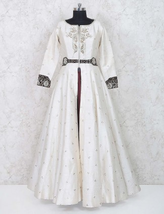 White hue designer raw silk lehenga cum anarkali suit