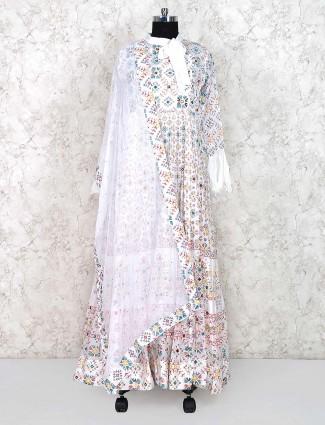 White hue festive floor length anarkali salwar suit in cotton