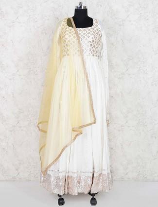 White hue georgette floor length anarkali salwar suit