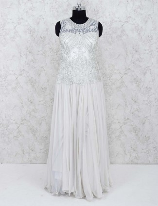 White hue net party gown