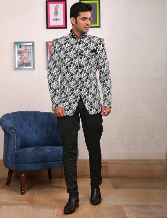 White hue printed pattern jodhpuri suit