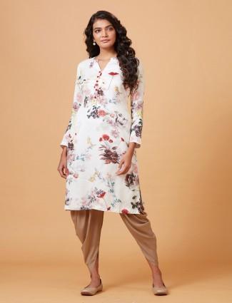 White hue printed pure raw silk dhoti suit