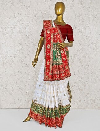 White hue silk wedding saree