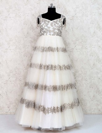 White hue wedding function gown