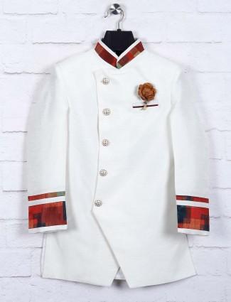 White hued raw silk fabric indo western