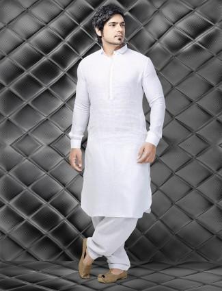 White jute men Pathani suit