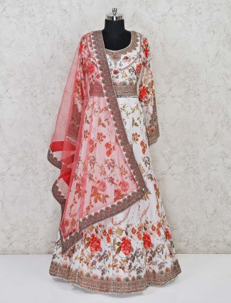 White lehenga in the floral print