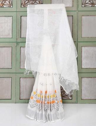White linen fabric festive wear saree