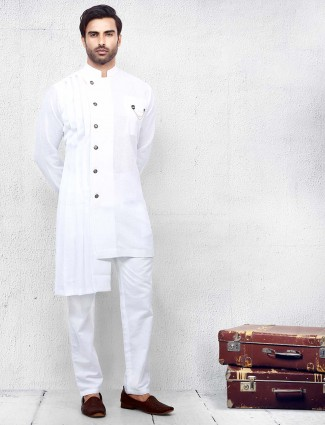 White mens cotton fabric solid kurta suit