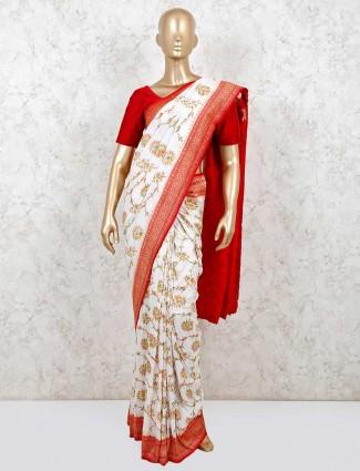 White muga silk designer saree wedding days