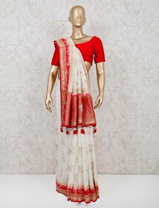 White muga silk reception function saree