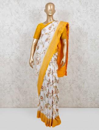 White muga silk wedding saree for pretty womens