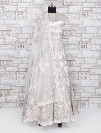 White net fabric wedding wear anarkali suit