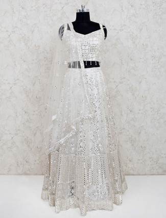 White net sweetheart neck lehenga choli