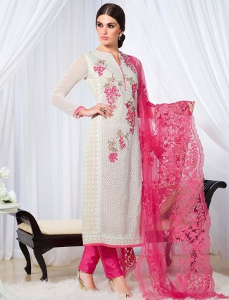 White party wear georgette semi stitched salwar suit