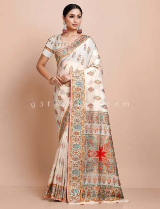 White pashmina silk saree for weddings