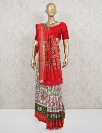 White patola silk saree design