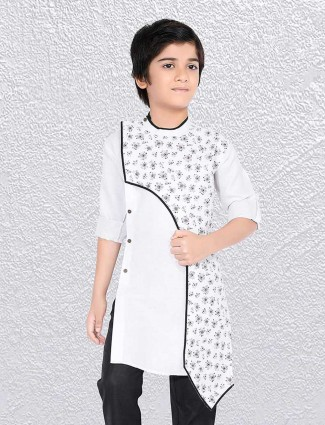 White printed boys short kurta