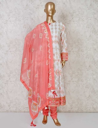 White printed cotton anarkali with churidar