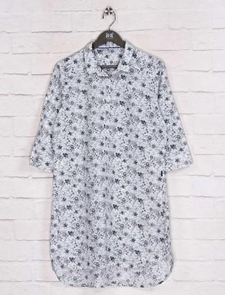 White printed cotton casual long shirt