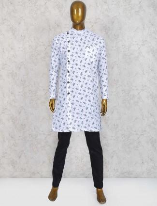 White printed cotton fabric kurta suit
