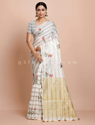 White printed cotton linen saree
