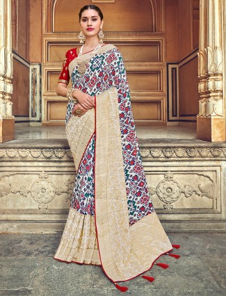 White printed patola silk wedding saree