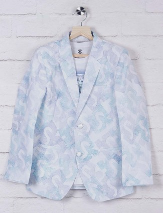 White printed terry rayon fabric blazer