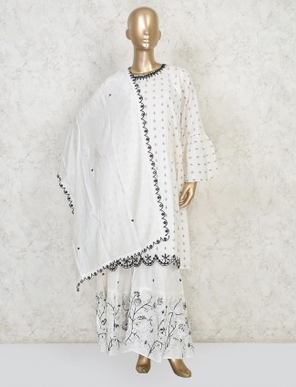 White punjabi sharara printed suit in cotton
