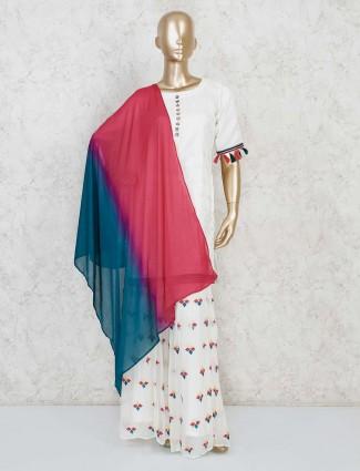 White punjabi sharara suit design in cotton silk
