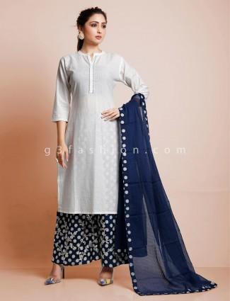 White punjabi thread woven cotton palazzo suit