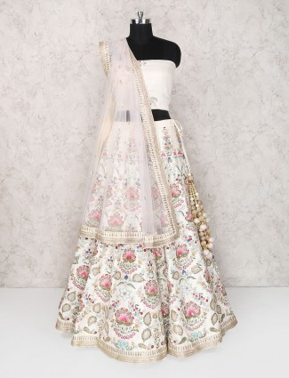 White raw silk semi stitched designer lehenga choli
