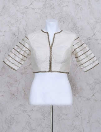 White silk fabric ready made blouse