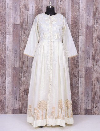 White silk indo western for festive