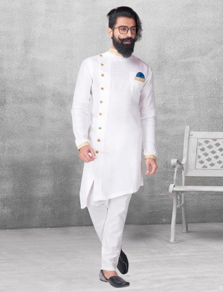 White silk kurta suit for festive function