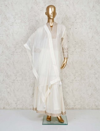 White soft cotton silk sharara suit highlight with golden embroidery