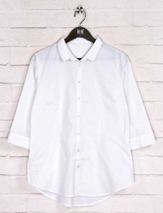 White solid casual cotton shirt