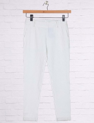 White solid casual jeggings